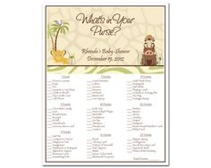 Printable Lion King Baby Shower What's In Your Purse Game - Simba Safari. $8.00, via Etsy.