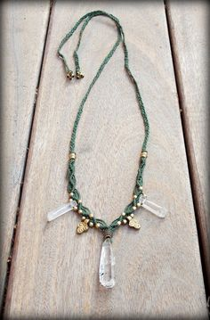 Forest Green Macrame Necklace Brass Beads Clear by stoneagetale