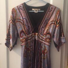 Ornate silk blue dress 100% silk dress. Gorgeous print. Ties in back. Truly beautiful. Dresses