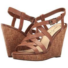 Jessica Simpson Jazlin (Burnt Umber Belavista) Women's Shoes ($68) ❤ liked on Polyvore featuring shoes, sandals, wedges, open toe sandals, open toe wedge sandals, strappy platform sandals, high heel platform sandals and high heels sandals