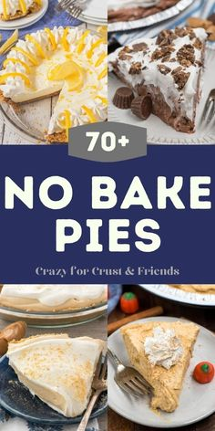 This list of over 70 No Bake Pies is perfect for summer or anytime you want a no bake pie recipe! Desserts For A Crowd, Fall Desserts, No Bake Desserts, Just Desserts, Dessert Cake Recipes, Cheesecake Recipes, Summer Pie, Low Carb Sweets, No Bake Pies