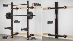 Rogue Fold Back Wall Mount Rack - use to create a minimal-footprint garage gym. Garage Gym, Home Gym Basement, Diy Home Gym, Diy Power Rack, Gym Rack, Half Rack, Folding Walls, Wall Mount Rack, Rogue Fitness