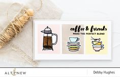 This beautiful card is made by masking three rectangles. Images from the Coffee Love set are stamped within the rectangles. Find out more about this retro card by visiting our blog.  http://altenewblog.com/2016/10/28/video-retro-stamping/