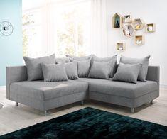 DELIFE Ecksofa Clovis Grau Flachgewebe Ottomane Rechts Modulsofa, Design Ecksofas, Couch Loft, Modulsofa, modular 12079