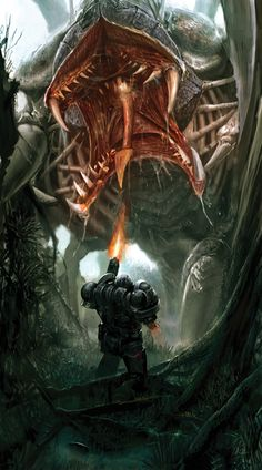 The last stand warhammer tyranids, dark fantasy, sci fi fantasy, fantasy beasts Fantasy Warrior, Sci Fi Fantasy, Dark Fantasy, Fantasy Beasts, Warhammer 40k Tyranids, Warhammer 40k Art, Alien Creatures, Fantasy Creatures, Science Fiction