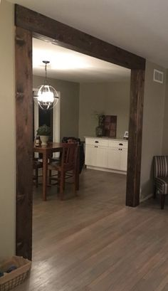 Cedar boards cut to make faux wood beams for where we opened up our wall. - Home Remodeling in St. Home Renovation, Home Remodeling, Faux Wood Beams, Faux Wood Wall, Dark Wood Trim, Wood Paneling, Diy Home Decor, Room Decor, Home And Deco