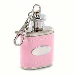 "This genuine leather-covered, stainless steel flask is specially designed to carry 1 ounce of alcoholic beverages and will provide years of pleasure. Features a key chain clip attached to the cap. Measuring 3"" tall x 1 5/8"" wide, this compact flask is the perfect size for those on the go. Includes a 1"" long self-adhesive engraving plate, which can be personalized with up to 12 characters in the font of your choice. #favor #gift #cheap #weddingfavor #fashion #personalize"