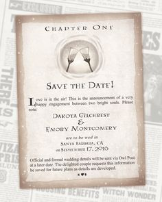 Harry Potter Save the Date Book Chapter - Digital Invitations - Geek Wedding by AwkwardAffections on Etsy https://www.etsy.com/listing/276139320/harry-potter-save-the-date-book-chapter