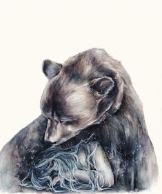 Watercolour Illustration by Oksana Dimitrenko — Designcollector Bear Spirit Animal, Spirit Bear, Watercolor Illustration, Watercolor Art, Bear Tattoos, Bear Art, Animal Totems, Indigenous Art, Illustrations