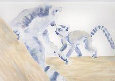 Lemur Baby Original Watercolour & Ink Painting OOAK Art £25.00