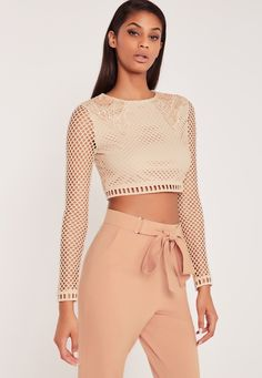 Missguided - Carli Bybel Premium Lace Long Sleeve Crop Top Nude Missguided  Outfit ecf984911