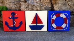 Nautical String Art Sign Anchor String Art by JOCoriginalcreations Anchor String Art, Art Sign, Nautical, Artsy, Crafting, Nursery, Unique Jewelry, Handmade Gifts, Projects