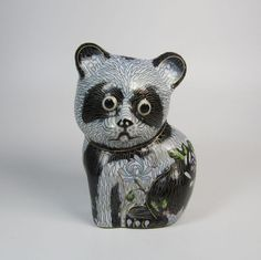 Chinese Cloisonne Panda Bear Figurine on Wooden Stand