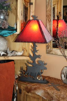 Moose Lamp with Red Cowhide Shade Rustic Lamps, Moose, Table Lamp, Shades, Lighting, Unique, Red, Home Decor, Lamp Table