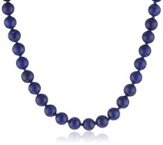 """Sterling Silver 8mm Lapis Bead Necklace, 24"""": ---See more at http://astore.amazon.com/necklwmgm-20"""