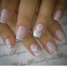 Wedding nails for bride shellac twists 55 ideas French Manicure Gel Nails, French Nails, Acrylic Nails, Elegant Nails, Stylish Nails, Bride Nails, Wedding Nails, Pink Holographic Nails, Lace Nails