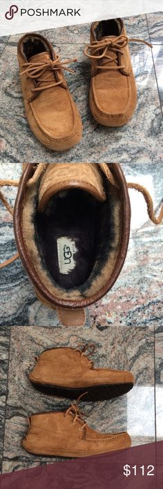 UGGS - Mens Size 10 1/2 UGGS - Men's Shoe - Slippers - Boots  Previously Gently Worn Once  Like New Condition   Genuine Uggs purchased at Nordstrom   Lining: Genuine Sheepskin Sole: Rubber  Suede upper - saddle color  F19013F UGG Shoes