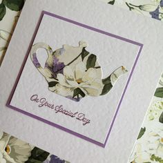 Gorgeous teapot handmade greeting card using Cristina Re papers by OSONiA Designs