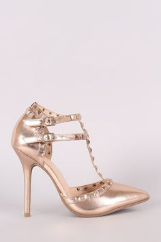 Wild Diva Lounge Metallic Studded T-Strap Pointy Toe Pump – Style Lavish Caged Shoes, Pump Shoes, Vegan Leather, Leather Men, Studded Heels, Glass Slipper, Stiletto Pumps, Ankle Straps, T Strap