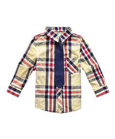 Another great find on #zulily! Red, White & Blue Plaid Button-Up & Tie - Toddler & Boys #zulilyfinds