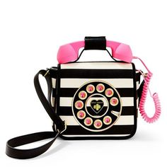 Betsey Johnson Blackwhite Call Me Baby Telephone Crossbody ($108) ❤ liked on Polyvore featuring bags, handbags, shoulder bags, betsey johnson purses, white purse, cell phone crossbody, white crossbody handbags and white handbags