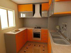 cocina pequeña con muebles de color naranja