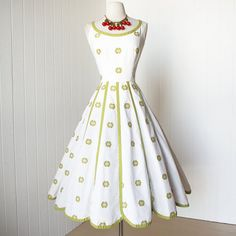 vintage 1950's dress ...pretty PAT PREMO california cotton embroidered petal gored full skirt pin-up dress on Wanelo