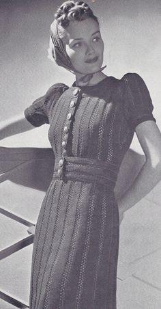 The Vintage Pattern Files: Knitting -Sundsvall Swedish Peasant Dress Vintage Knitting, Vintage Crochet, 1930s Fashion, Vintage Fashion, Vintage Dresses, Vintage Outfits, Moda Vintage, Button Front Dress, Knit Dress