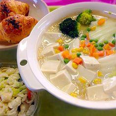 本日の職場DEランチ鍋  お豆腐とモヤシと白菜の真っ白なホワイトシチュー(笑) サツマイモ味のミニクロ シエルマカロニのコールスロー - 68件のもぐもぐ - お豆腐クリームシチュー by manilalaki