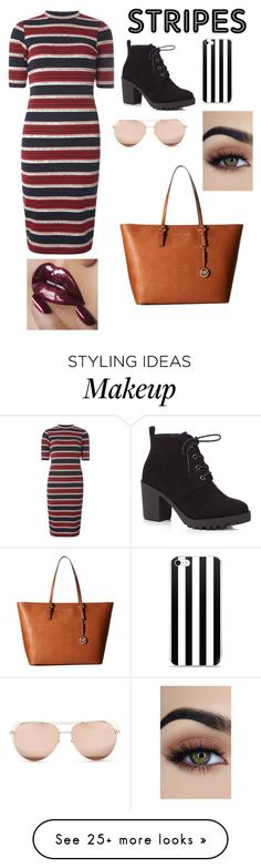 """""""Stripes"""" by kayleighmw on Polyvore featuring Dorothy Perkins, Red Herring, MICHAEL Michael Kors and Linda Farrow"""