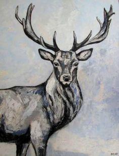 """Saatchi Art Artist Dominique Janssens; Painting, """"Edelhert / Red deer stag"""" #art"""