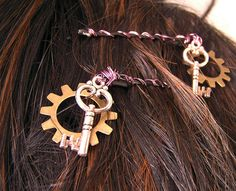 Steampunk hair pins Set of 2 Bronze gears by TheAmethystDragonfly, $16.50