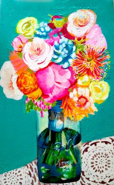 Flowers painting acrylic mason jars 59 Ideas for 2019 Canvas And Cocktails, Flower Garden Plans, Acrylic Painting Flowers, Paint Party, Painting Inspiration, Cute Art, Flower Art, Mason Jars, Neon