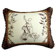 Image of Embroidered Accent Pillow with Vintage Trim