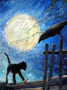 Painting of black cat. Valerij Villevaldt