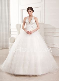 A-Line/Princess Halter Sweep Train Satin Tulle Wedding Dresses With Ruffle Lace