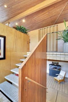 """Midcentury masterpiece 1955 time capsule """"tile house"""" in Minneapolis - every room full of exquisite tile designs - 69 photos - Retro Renovation Retro Renovation, Time Capsule, Tile Design, Minneapolis, Midcentury Modern, All About Time, Stairs, Mid Century, Houses"""