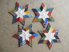 Patchwork Star Quilted Coasters Fabric Coasters Quilted Mug Mats Quilt Candle Mat Primitives Country Decor Farmhouse Decor Rustic Home Decor