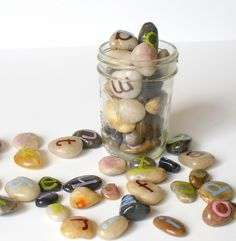 I would love to have letter rocks outside in the kid garden.  Have some stickers, like these, and some painted.  This may be a summer project for me and the kiddos.