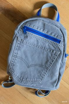 DIY small backpack upcycled from an old pair of jeans and a dress shirt. This sturdy small backpack is the perfect size for my toddler. Diy Upcycled Denim Backpack, Diy Denim, Diy Backpack, Toddler Backpack, Denim Crafts, Small Backpack, Backpack Straps, Denim Jeans Men, Denim Bag