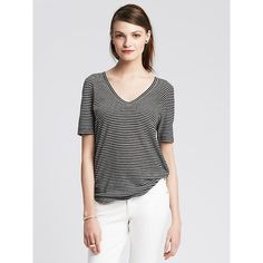 Banana Republic Womens Striped Linen Cotton Vee Size XL - Black ($30) ❤ liked on Polyvore featuring tops, t-shirts, black t shirt, short sleeve tees, striped t shirt, v neck tee and black v neck tee