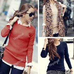 Trendy Pullover Solid Color Knitwear Knitted Sweater Knitting Shirt Bottoming Shirt with Round Neck for Girl Woman NDD-62204