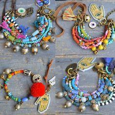 Hippie, boho, gypsy, ethnic, bracelets from bead stone n skin. Rustic Jewelry, Hippie Jewelry, Beaded Jewelry, Beaded Bracelets, Western Jewelry, Strand Bracelet, Tribal Jewelry, Jewellery, Handmade Beads