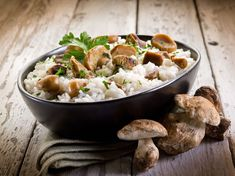 Wild Mushroom Risotto With Black Truffle Oil This wild mushroom risotto is The Kripalu Kitchen's healthy take on comfort food 4 1 rating Feb 2016 Baked Mushrooms, Wild Mushrooms, Stuffed Mushrooms, Edible Mushrooms, Black Truffle Oil, Crock Pot Recipes, Diet Recipes, Risotto, Truffles