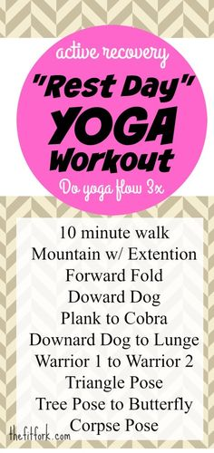 Yoga Rest Day Workout for Active Recovery - light walking combined with a gentle yoga flow will help flush lactic acid out of body and improve mobility so that you can exercise hit it hard at the next intense sweat session.