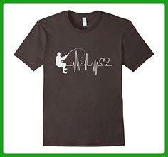 Mens Fishing Heart Beat Love to Fish Funny Novelty T-shirt Large Asphalt - Animal shirts (*Amazon Partner-Link)