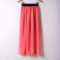 Hot Sale 2015 Summer Fashion Bohemian Double Layer Chiffon Pleated Elastic Waist long Maxi Skirt Drop Shipping