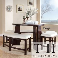 Amazon.com: Dining Set 4 Piece Contemporary Triangle Shaped Wood Table And  Bench