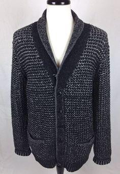 Rag and Bone Sweater Mens XL Black Wool Cardigan Neiman Marcus #RagandBone #Cardigan