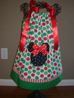 Christmas Minnie Pillowcase Dress Big Polka Dots Red and Green
